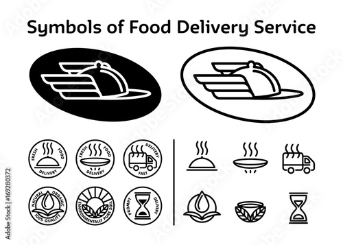 Set Of Black Logo Icons For Service Of Fast Delivery Ecologically