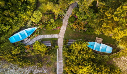 Aerial view of a park with boats