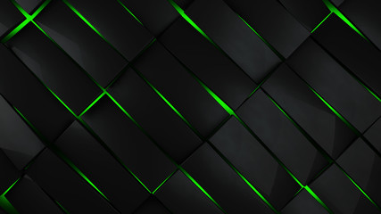 Wall Mural - grey and green rectangles modern background 3d render illustration