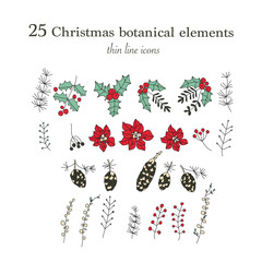 Set of 25 Christmas botanical symbols. Thin line vector icons. Xmas outline illustrations.