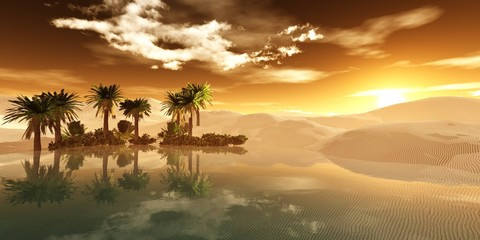Beautiful oasis in the sandy desert, panorama of the desert landscape, sunset over the sands, 3D rendering