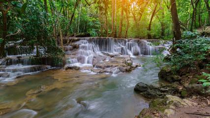 Viewpoint tier 6 at Huay Mae Khamin Waterfalls is located in Khuean Srinagarindra National Park , north of Kanchanaburi , The seven-tiered waterfalls, Thailand