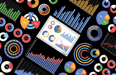 タブレットとビジネス資料