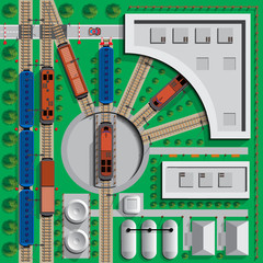 Locomotive depot. Infrastructure. View from above. Vector illustration.