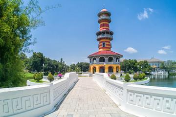 Ho Withun Thasana, or Sages' Lookout, landmark at Bang Pa-In Royal Palace, Thailand.