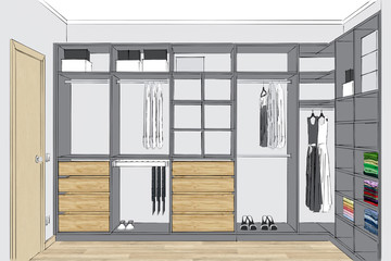 3D rendering. Modern comfortable wardrobe with folded and hanging clothes. Front view.