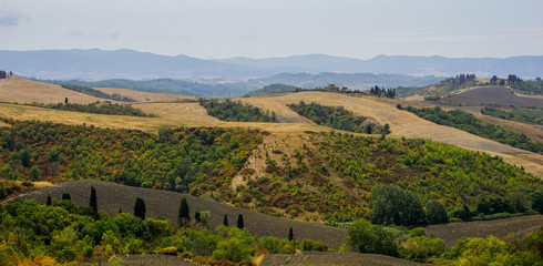 Beautiful view over fields in Tuscany, Italy.