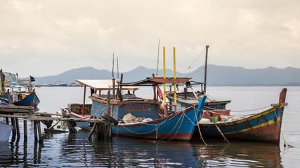 fishing boats in village indonesia kalimantan borneo