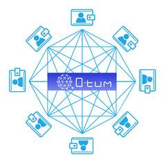 Concept of  Q-tum Coin, a Cryptocurrency blockchain platform , Digital money