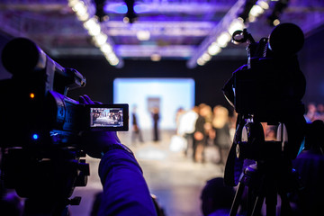 Wall Mural - Televison Camera Broadcasting a Show, Fashion Show, Catwalk Runway Event, Fashion Week themed photograph.
