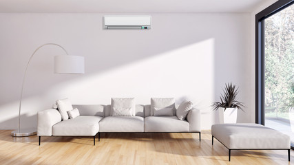 Modern bright living room with air conditioning, white wall. 3D rendering