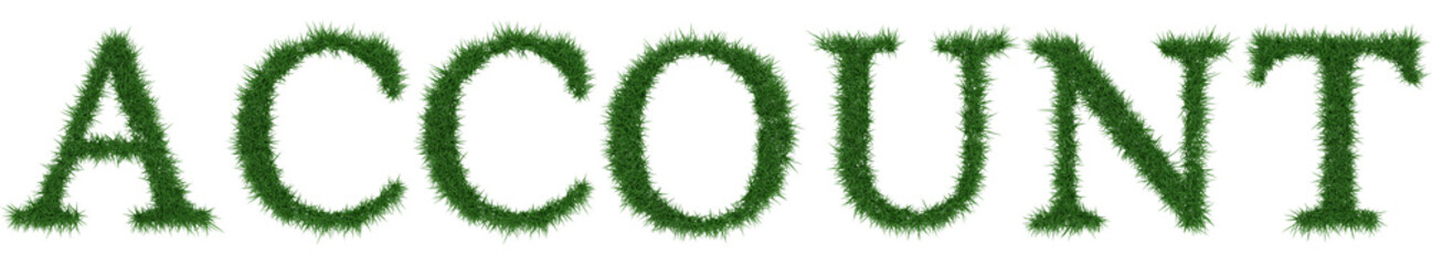 Account - 3D rendering fresh Grass letters isolated on whhite background.