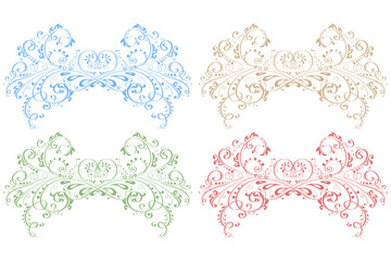 Royal floral ornaments. Colored decorations isolated on white background