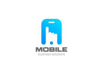 Finger hand touch screen smartphone Logo vector. App technology