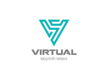 Letter V Labyrinth Triangle Logo vector Business Technology icon