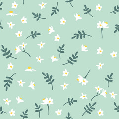 Vector seamless floral pattern. Background with flowers and leaves.