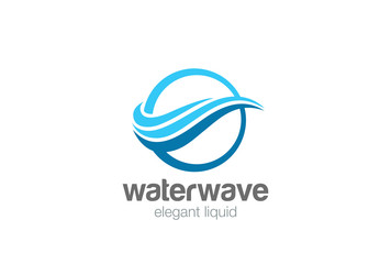 Elegant Wave Circle abstract Logo vector. Water wavy Lines icon