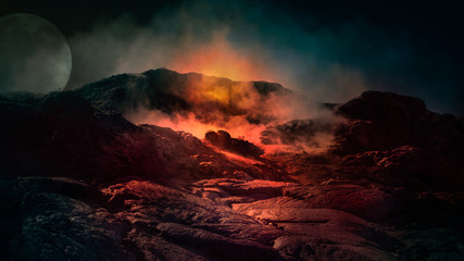 Fantasy close up scene of active volcano with fire, ice and smoke on the top. Iceland, Europe.