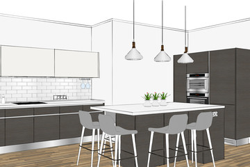 3D rendering. Modern kitchen design in light interior. Interior design.