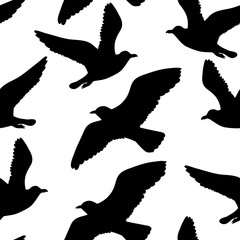 Vector seamless pattern with seagulls