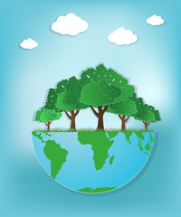 The Green Earth Globe with tree on blue background