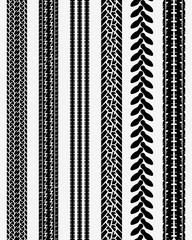 Black prints of tire cars, vector illustration, seamless pattern