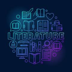 Literature round blue illustration