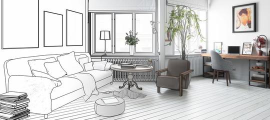 Möbliertes Apartment (Zeichnung, panoramisch)