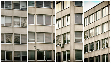 Vintage. Office building. Glass windows. Urban cityscape. Work in a company. Morning in the city. Old photo.