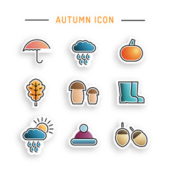 Set stickers on the theme of autumn flat color, isolated on white background. Vector icons illustration of autumn elements.