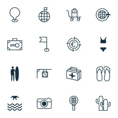 Tourism Icons Set. Collection Of Bathing Costume, Cacti, Security Baggage And Other Elements. Also Includes Symbols Such As Safe, Street, Clock.