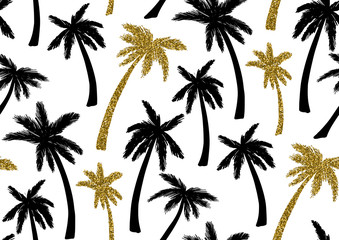 Seamless pattern with trendy tropical summer motifs, exotic leaves and plants.