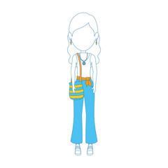 woman with hippie style icon over white background vector illustration