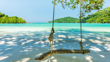 Wall Mural - Swing hanging on tree at the tropical bach located Surin Island, THailand