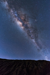 Milky Way landscape Clearly. Milky way above Summit of Rinjani mountain on night sky. Lombok island, Indonesia.