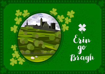 Wall Murals Green Vector greeting card. Irish landscape with Cashel Castle, clover leaves and lettering quote.