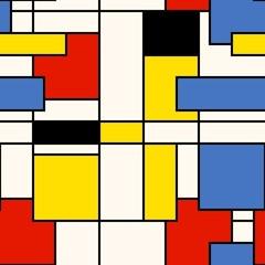 Seamless abstract mosaic pattern. Mondrian style. Vector illustration.