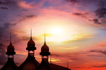 Muslim abstract greeting banners . Sunrise