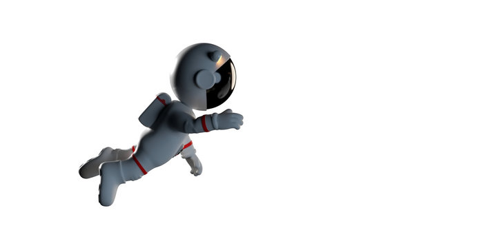 cute cartoon astronaut in white space suit is weightless in zero gravity space