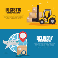 Boxes airplane and forklift of Logistic transportation and delivery theme Vector illustration