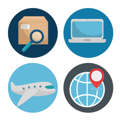 Icon set of Logistic transportation and delivery theme Vector illustration
