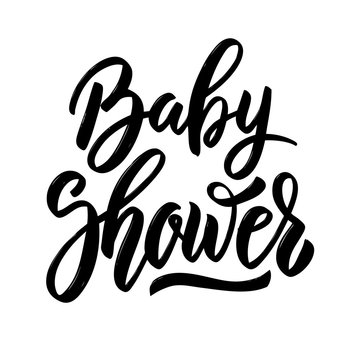 Baby shower. Hand drawn lettering phrase isolated on white background.