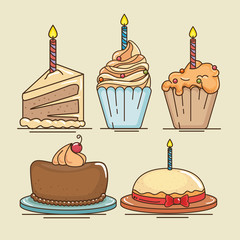 Cake and cupcake of Happy birthday and celebration theme Vector illustration