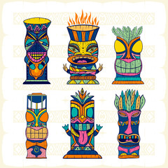Colourful Wood Polynesian Tiki idols, gods statue carving. Vector illustration