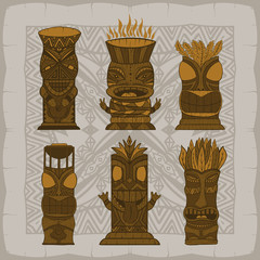 Wood Polynesian Tiki idols, gods statue carving. Vector