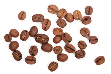 Coffee beans isolated on white background. Top view