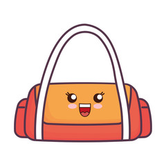 kawaii gym bag icon over white background vector illustration