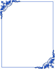 Frame border with blue ornaments