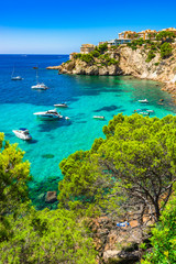 Majorca Spain Mediterranean Sea Coast bay with boats at Santa Ponsa
