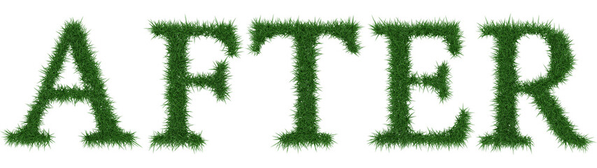 After - 3D rendering fresh Grass letters isolated on whhite background.
